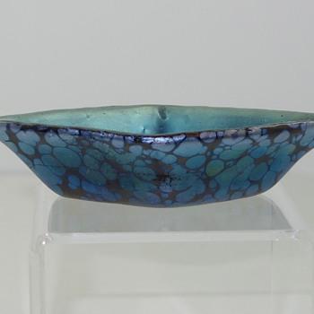 """Loetz Salt, Prod Nr. II-1921, """"Cobalt Papillon innen Silber"""", ca. 1905 - Art Glass"""