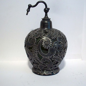 Victorian Pewter Filigree Perfume Atomizer