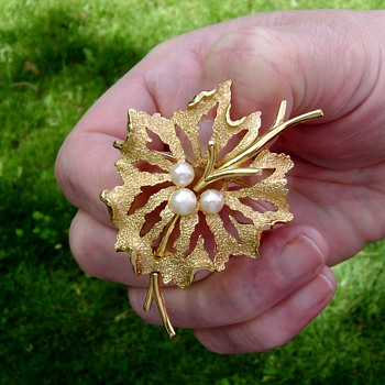 Trifari Flower on a Vine Brooch - Costume Jewelry