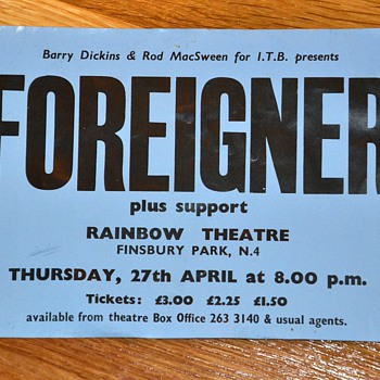Historical Rock Poster from 1977 - Foreigner - Posters and Prints