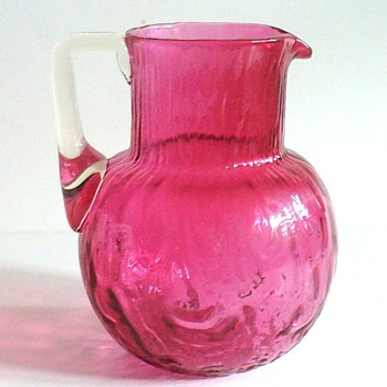 RARE LOETZ RUBY RUSTICANA JUG OR PITCHER - Art Glass