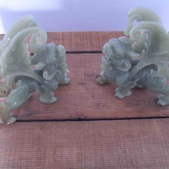 Soapstone Shi Shi lions.