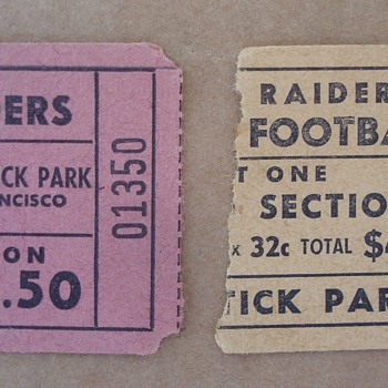 1960 & 1961 Oakland Raiders Ticket Stubs