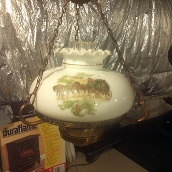 Victorian Lamp with horses and carriages