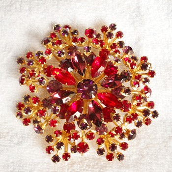 Huge Vintage Rhinestone Dimensional Snowflake  - Costume Jewelry