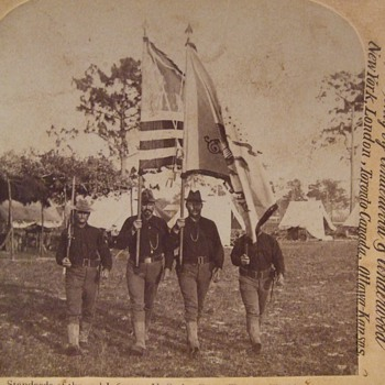 SAW Stereoview of 2nd Infantry Color Guard