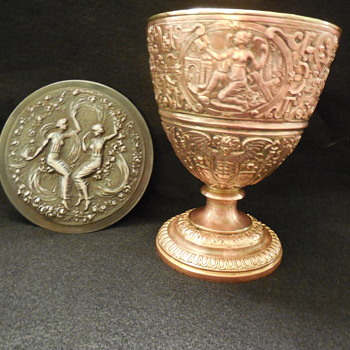 Old Copper/Brass Gilded Chalice and a Mirror that I found for a Lid