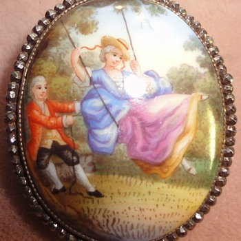 ANTIQUE GEORGIAN CUT STEEL PORCELAIN BROOCH C. 1820 (EARLY 19TH C) - Fine Jewelry