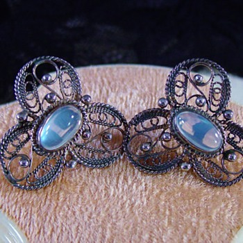 Antique Victorian Ceylon Moonstone Filigree Silver Earrings - Fine Jewelry