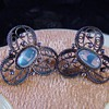 Antique Victorian Ceylon Moonstone Filigree Silver Earrings