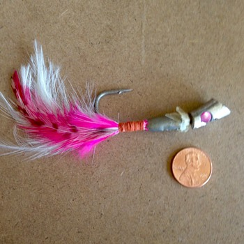 Dad's Fishing lure- metal, single hook, feathers