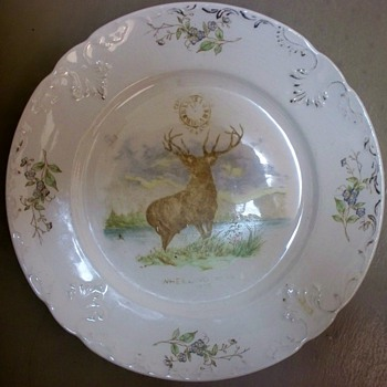 1899 Cervus Alces Ceramic Plate with Elk Lodge design, Wheeling W. Virginia  - China and Dinnerware