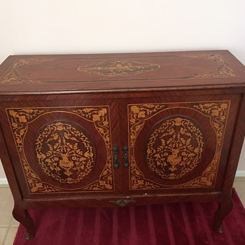 inlaid marquetry 2 door cabinet ?