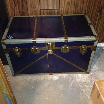 Inherited Eatonia blue steamer trunk
