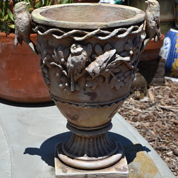 Urn with Modeled Birds  - Art Pottery