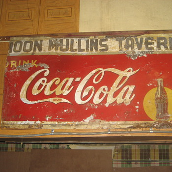 Found this old 1930's metal Coke sign in a neighbors closed up warehouse, 60 x 40 - Coca-Cola