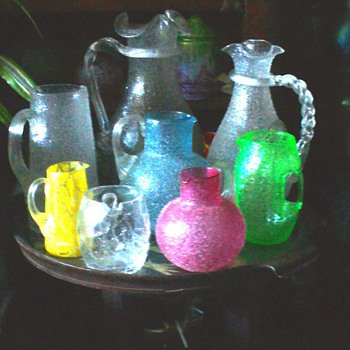 CZECH LOETZ AND  KRALIK PITCHERS  - Art Glass