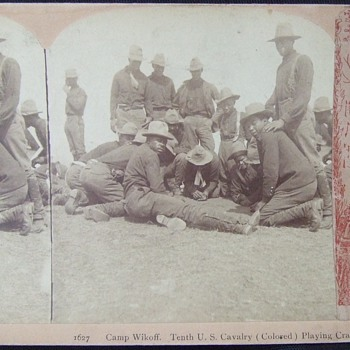 "10th CAV ""Buffalo Soldiers"" playing craps - Military and Wartime"
