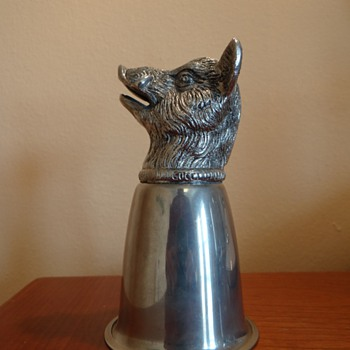 VINTAGE GUCCI STIRRUP CUP SILVER PLATED BOARS HEAD