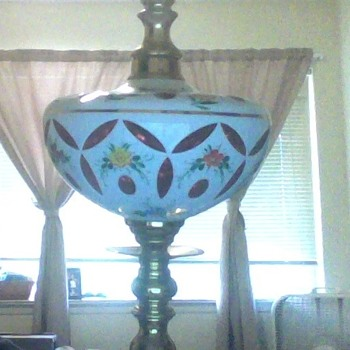 Brass Lamp with a floral design bowl