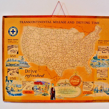 1950's Coca-Cola Mileage Chart by Rand McNally - Coca-Cola