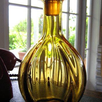 Old Amber Glass Decanter - Bottles