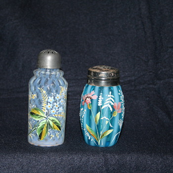 Victorian Art Glass shakers and condiment sets - Art Glass