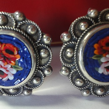 Mosaic Silver Rose Clip Earrings