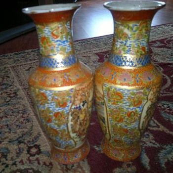 14 inch tall   Japanese?  Vases  - Asian