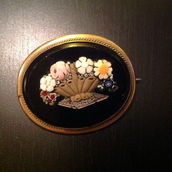 Micro micro mosaic brooch