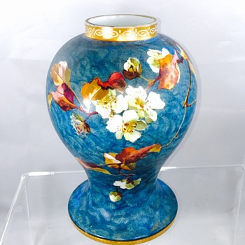 Bohemian Tischer Karlsbad Enamelled Leaves Vase  - Art Glass
