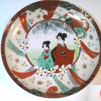 Kutani Porcelain Saucer and Lotus Rice Bowl /Circa 1930's