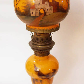 Painted Glass Globe Table Lamp Decorated with Castle Maker Unknown - Art Glass