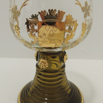 "Glass/Goblet w/ Gold decoration - ""Holfstein"" - Glassware"
