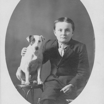 Old Family Photo with RCA Dog ? On Postcard  - Photographs
