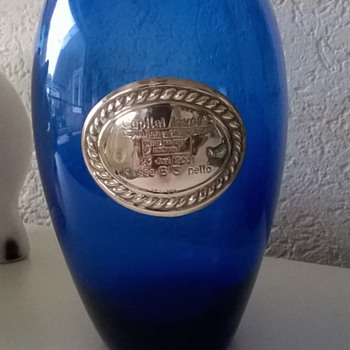 Blue Glass Vase With Sterling Silver Award Plaque, United Colors of Benetton