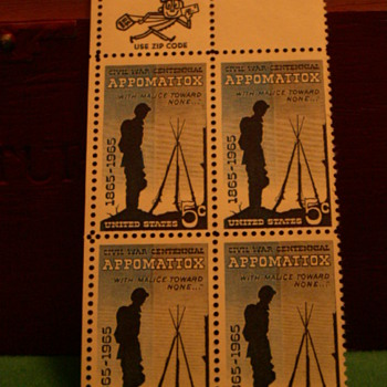 1965 Civil War Centennial Appomatiox 5¢ Stamps