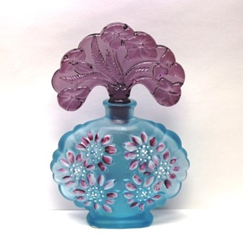 Fenton - Blue Topaz with Asters Bottle - 2002 - Bottles