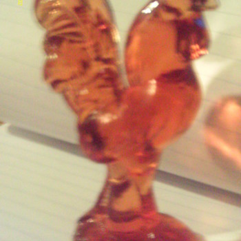 glass amber colored rooster - Glassware