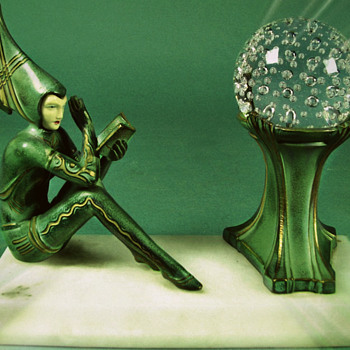 "Pixie Reader Lamp by H. Fugere, mfg by The Hersch Foundry, ""Contemplar"" - Art Deco"