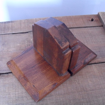 Old wooden book ends. - Books