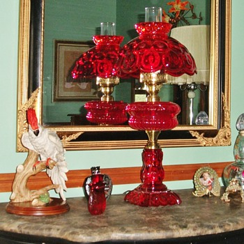 Ruby Red Glass Hurricane Lamp - Lamps