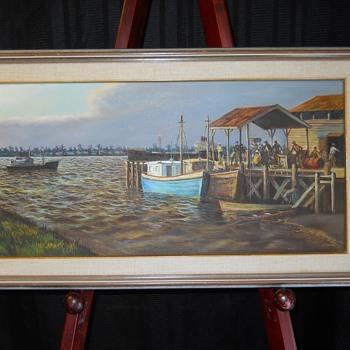 "1/3 Harbor Workers, Oil on Canvas, Impressionist""M.Khan""20 Century - Visual Art"