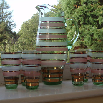 Czechoslovakian Water/Lemonade Set 50's-70's label - Art Glass