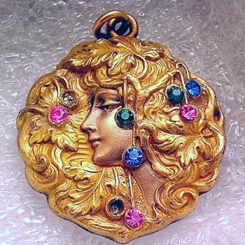Pretty lady nouveau locket - Costume Jewelry