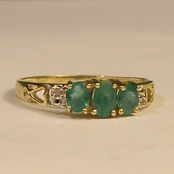 Old 14k Emerald &quot;Trio&quot; Ring--Late 1940&#039;s - Fine Jewelry