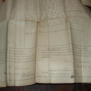 1864  Civil war document Muster out Camp Dennison