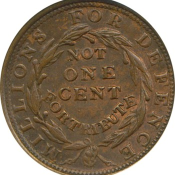 1837 1¢ Merchants Exchange Hard Times Token (HT #293)