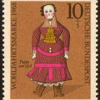 "1968 - German ""19th Century Dolls"" Postage Stamp Series - Stamps"