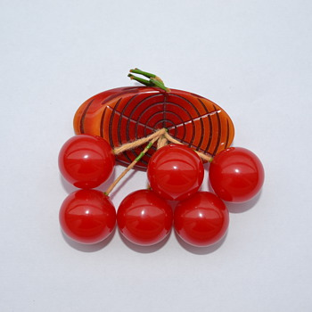 Bakelite 'Cherries on Log' Pin / Brooch - 1940's - Art Deco